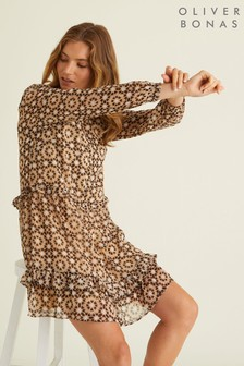 Oliver Bonas Circle Geo Print Mini Dress