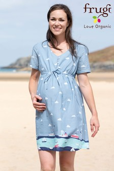 Frugi Organic Bump To Breastfeeding Bedrucktes Kleid, Blau