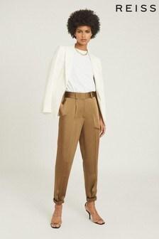Reiss Camel Elyssah Satin Pleated Trousers