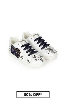 Dolce & Gabbana Kids Dolce & Gabbana Boys White Leather Trainers