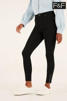 F&F Black 360 Zip Jeans