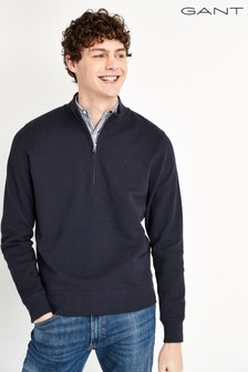 GANT Structure Navy Half Zip Sweater