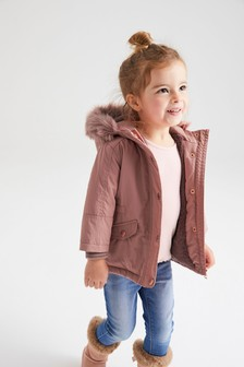Faux Fur Trim Shower Resistant Parka (3mths-7yrs)