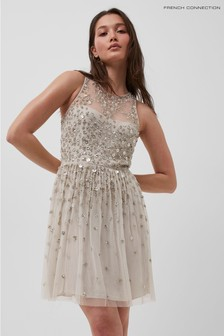 French Connection Silver Elin Embellished Sleeveless Dress