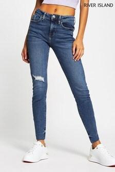 River Island Denim Medium Amelie Mid Rise Ravioli Jeans