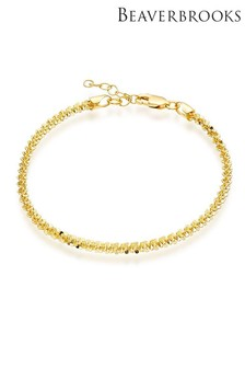 Beaverbrooks Gold Plated Sterling Silver Sparkle Cut Anklet