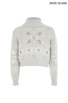 River Island Grey Fairisle Pattern Jumper
