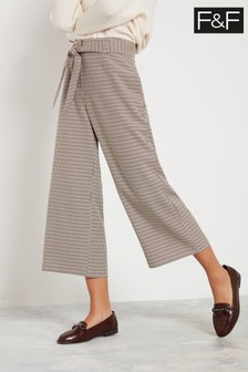 F&F Multi Wk 23 Belted Check Crop Trousers