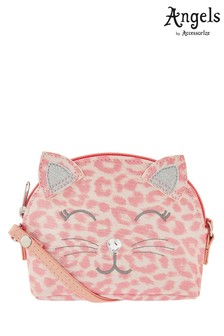 Angels by Accessorize Pink Leopard Print Cat Cross Body Bag