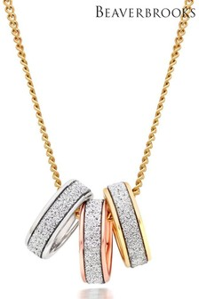 Beaverbrooks 9ct Gold, Rose Gold And White Gold Glitter Pendant