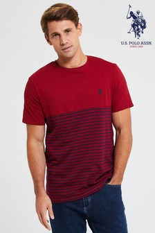 U.S. Polo Assn. Red Fade Stripe Ringer T-Shirt