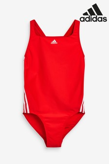adidas Red 3 Stripe Swimsuit