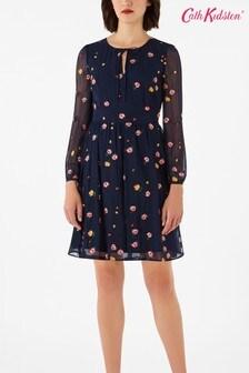 Cath Kidston® Blue Wimbourne Rose Embroidered Mini Dress