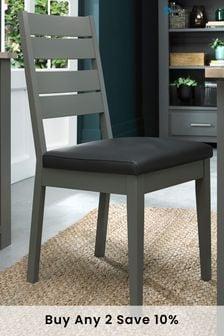 Oakham Dark Grey Chair Dark Grey Faux Leather Pair by Bentley Designs
