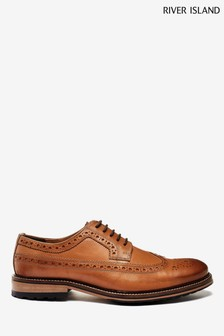River Island Brown Leather Brogue Derby Shoes