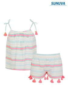 Sunuva White Stripe Strappy Short Set