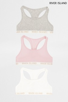 River Island Pink Racer Bras Three Pack
