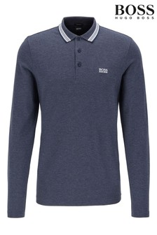 BOSS Blue Plisy Long Sleeve Polo