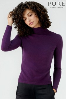 Pure Collection Purple Cashmere Roll Neck Sweater