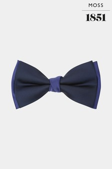 Moss 1851 Navy And Cobalt Contrast Bow Tie