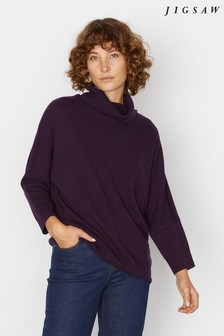 Jigsaw Purple Drop Hem Cowl Jumper