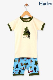 Hatley Cream/Green Bear Hug Kids Short Pyjama Set