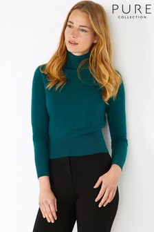Pure Collection Green Cashmere Cropped Polo Sweater