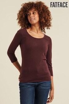 FatFace Purple Laura Three Quarter T-Shirt