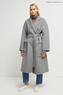 French Connection Grey Agatima Wool Belted Coat