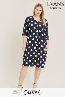 Evans Curve Navy Spot Cocoon Dress