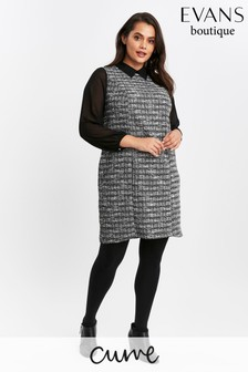 Evans Curve Black Checked 2 In 1 Shift Dress