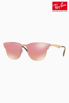 Ray-Ban® Rose Gold Mirrored Rimless Cateye Sunglasses
