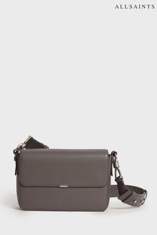 AllSaints Grey Leather Captain Cross Body Bag