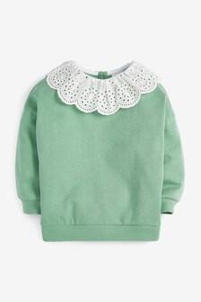 Broderie Collar Sweatshirt (3mths-7yrs)