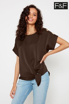 F&F Chocolate Sasha Button Batwing Blouse