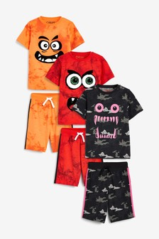 3 Pack Monster Face Short Pyjamas (3-14yrs)