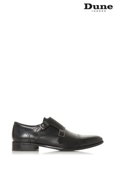 Dune London Salvador Black Leather Embossed Double Buckle Monk Shoes