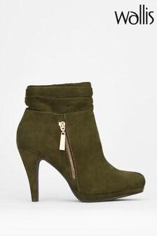 Wallis Annette Khaki Zip Detail Rouche Platform Boots