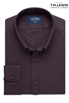 T.M. Lewin Burgundy Melange Slim Fit Single Cuff Shirt