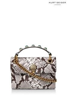 Kurt Geiger London Grey Mini Kensington X Snake Print Bag