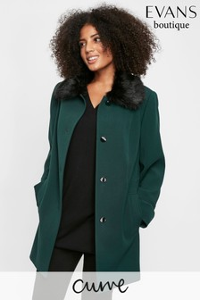 Evans Curve Green Faux Fur Coat