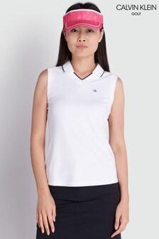 Calvin Klein Golf White Caspian Sleeveless Poloshirt
