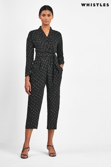 Whistles Black Star Print Jumpsuit