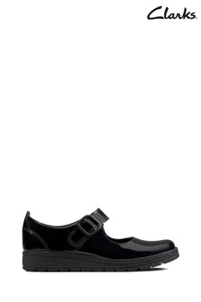 Clarks Kids Black Patent Mendip Stitch Shoe