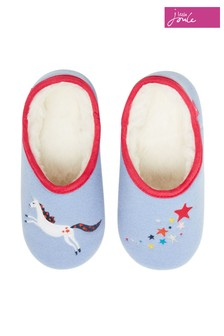 Joules Blue Junior Slippet Felt Appliqué Mules