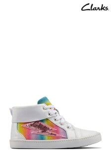 Clarks White Combi Lea City Myth K Boots