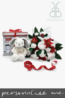 Babyblooms Luxury White Christmas Bouquet & Personalised Grey Bunny
