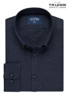 T.M. Lewin Navy Melange Slim Fit Single Cuff Shirt