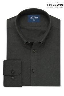 T.M. Lewin Forest Green Melange Slim Fit Single Cuff Shirt