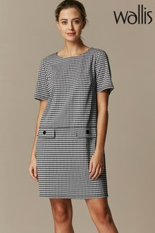 Wallis Petite Black Dogtooth Ponte Dress